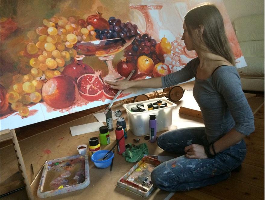 mural kitchen, work in process, stillife