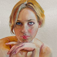 Aquarell-Portrait-Frau-Olessja