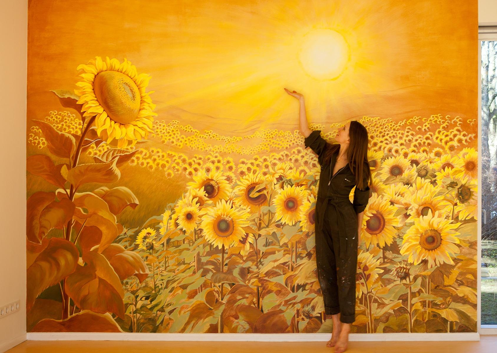 Wandmalerei Sonnenblumen